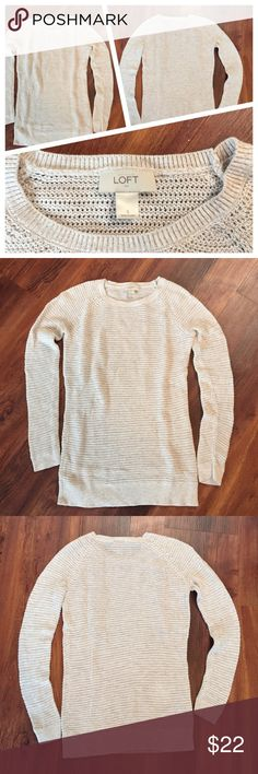 Small cream colored Loft sweater Small Loft sweater, cream color.  EUC, no stains or snags.  Pairs great with leggings. 100% cotton. LOFT Sweaters Crew & Scoop Necks