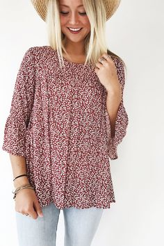 Red Floral Top | ROOLEE