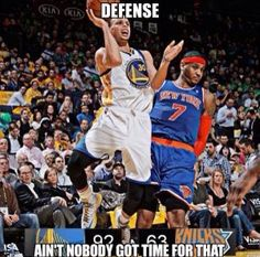 Carmelo Anthony Ain't Got Time For Defense Meme Sports Memes lol! Funny Nba Memes, Funny Basketball Memes, Funny Sports Quotes, Funny Sports Pictures, Basketball Is Life, Football Memes, Sport Quotes, Basketball Problems, Pool Basketball
