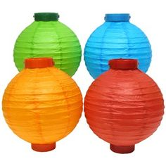 This colorful set of Battery Operated Paper Lanterns add a burst of color and festive look to your Luau or decorative themed party.