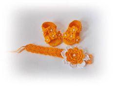Yellow Crochet baby sandals Set shoes headband yellow Summer