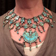 India | Traditional collar necklace from Kashmir | Silver and turquoise.