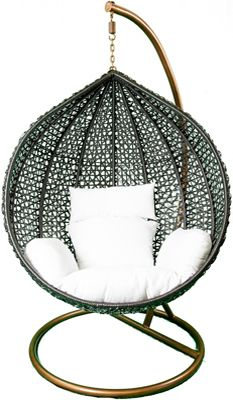 Nest Hanging Chair (Black W/White Cushions)   Lili Natural Designs   $649.99