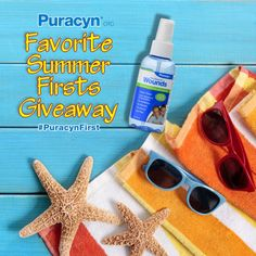 Enter the Puracyn \&%2334;Favorite Summer Firsts\&%2334; Giveaway for the chance to win one of four Firsts of Summer Prize Packs, including fun outdoor items and Puracyn® OTC Wound and Skin Care Solution for first aid (each prize pack valued at $400!).  Weekly winners. %23PuracynFirst %23summer %23giveaway