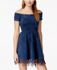 XOXO Juniors' Crochet-Trim Off-the-Shoulder Denim Fit-and-Flare Dress