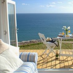 The cottage, dubbed The Edge, boasts an open plan, which provides continuous views of the sea below. Cottages By The Sea, Beach Cottages, Coastal Homes, Coastal Living, Coastal Style, Beach Homes, Coastal Cottage, Beautiful Homes, Beautiful Places