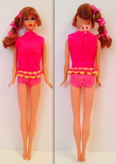 this is the talking Barbie I had. Pull that little pink flower on the back of her neck and she talks.