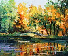 """Spring Bridge — PALETTE KNIFE Contemporary Landscape Oil Painting On Canvas By Leonid Afremov - Size: 30"""" x 24"""" (75 cm x 60 cm)"""