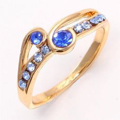 Sparkling 10k Yellow Gold Filled Sapphire Ring
