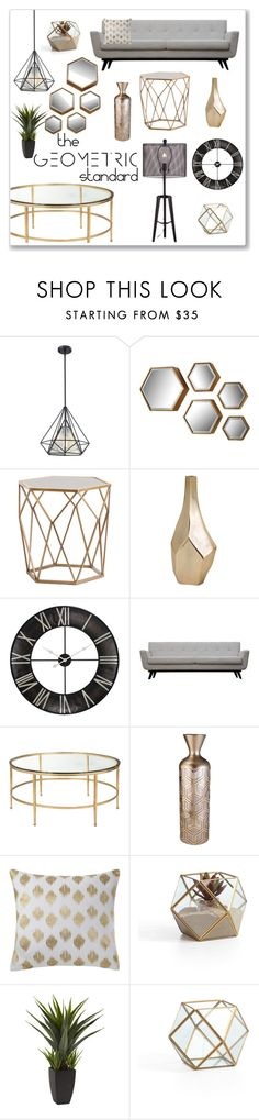 """The Geometric Standard"" by overstock ❤ liked on Polyvore featuring interior, interiors, interior design, home, home decor, interior decorating, ELK Lighting, Safavieh, Ink & Ivy and Nearly Natural"