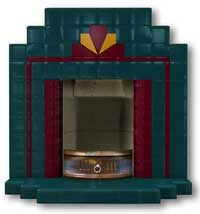 New Art Deco English style tiled fire surround