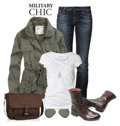 """military chic"" by gallant81 ❤ liked on Polyvore featuring True Religion, American Eagle Outfitters, AllSaints, River Island, Lafonn and Ray-Ban"