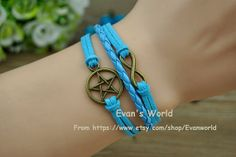 Bronze Pentacle Infinite Bracelet Light Blue Leather by Evanworld, $2.99 Homemade personalized fashion charm bracelet, the best gift of friendship.