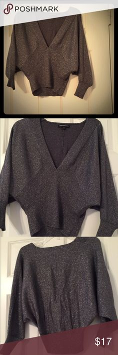 Express silver sweater worn once Express sweater with batwing sleeves Express Sweaters