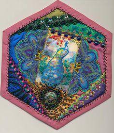 Viv's Crazy Quilting Journey: Hexagon 18 - Peacock