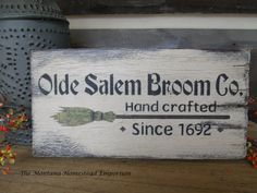Old Salem Broom Co. Handpainted wood sign by TheMontanaHomestead, $14.50