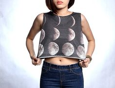 The Moons - Half Moon And Full Moon Shirt T-Shirt Crop Top Tank Free Size S M