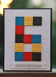 "Lego birthday card: 3/4"" Squares; 1/4"" Circles; Square Lattice Embossing Folder; Cardstock: Basic Black, Whisper White, Daffodil Delight, Pacific Point, Real Red; Stamps: Loved Ones; Ink: Basic Black"