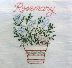 Hand Embroidered Towel Tea Dish Flour Sack Kitchen Rosemary