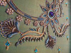 SRI AARI CREATIVES: EMBOSSED THREAD WORK & EMBOSSED ZARDOSI WORK ON WEDDING DESIGNER BLOUSES- metal thread