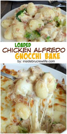 Chicken alfredo gnocchi. An amazing and delicious combination of chicken alfredo, cheese, and bacon makes this dinner recipe disappear in a hurry!