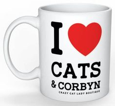 Cat Mug, I love CATS and CORBYN mug, Cat Lover Gift, Crazy Cat Lady, Funny,CCL Boutique, Brighton, Labour Party, Jeremy Corbyn by CCLBoutique on Etsy
