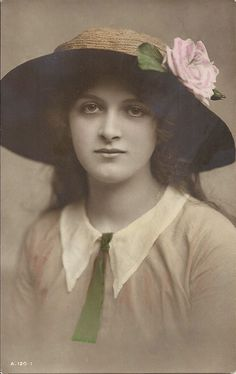Young Gladys Cooper, Edwardian theatre and film star, antique real photo postcard, hand tinted, pretty colours, vintage fashion