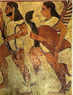 Ancient Etruscan Mural with Hermes. The Etruscan civilization appears to have been very influenced by the Greeks. This is apparent in their art, especially paintings like the one pictures above, which even characterizes a Greek god, Hermes. Ancient Rome, Ancient Greece, Ancient History, Art History, European History, Ancient Aliens, American History, Arte Latina, Oriental