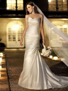 Sheath/Column Sweetheart Satin Chapel Train Ivory Appliques Wedding Dresses at Millybridal.com