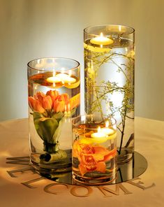 Flowers in water with floating candles. Natural and elegant.