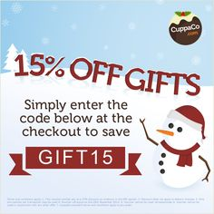 Enjoy 15% off anything from CuppaCo's gift section until Sunday (24/11) http://www.cuppaco.com/gifts-accessories