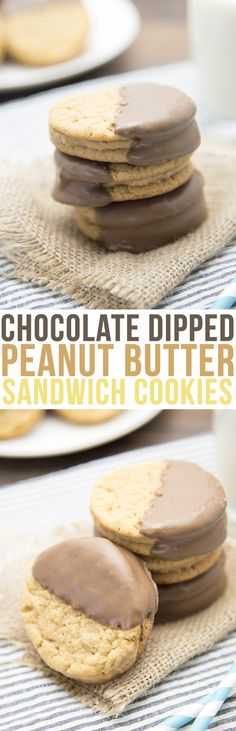 These Chocolate Dipped Peanut Butter Sandwich Cookies are an amazing cookie, great for enjoying yourself or sharing with neighbors!