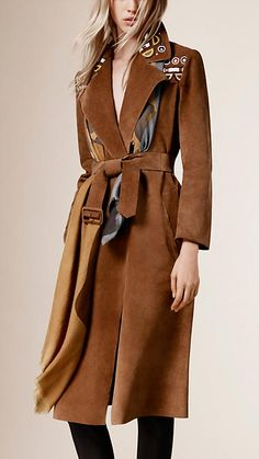 $6,500 Burberry Sepia brown Embroidered Suede Trench Coat - Image 1