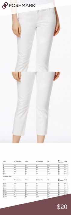 Tommy Hilfiger Cropped Capri Jeans Sz 14 NWT! Tommy Hilfiger Mid-Rise Button Closure Cropped Capri Jeans NWT!  Color:  White Material:  98% Cotton And 2% Elastane Size:  14 Measurements: Waist 19, Hips 21, Length/Inseam 25, And Rise 10. Note, I noticed a small stain on the front of the jeans by the zipper.  I barely noticed it And it should come out in the wash. Tommy Hilfiger Jeans Ankle & Cropped