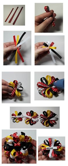 Faye's Favorite to create - Loopy Flower Hair Bow Tutorial Mikey Flower Hair Bows, Diy Hair Bows, Diy Bow, Bow Hair Clips, Flower Headbands, Ribbon Flower, Hair Ribbons, Ribbon Bows, Ribbon Hair