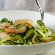 Recipe of the Day: Shrimp Scampi Zoodles With warmer weather comes more outdoor fun — and the need for more quick and easy dinners. Enter shrimp over zoodles. Enjoy all the buttery and garlicky scampi flavors you love on a bed of fresh zucchini noodles, and attain summer dinner perfection in just 30 minutes.