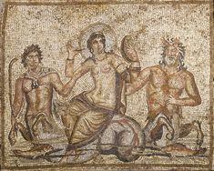 A ROMAN MARBLE MOSAIC PANEL   circa 3rd-4th century a.d. Depicting the goddess Venus rising from the sea, supported by two tritons, both with a human torso, equine legs and a fish-tailed lower body, the goddess haloed, holding a mirror in her left hand and a cosmetic applicator in her right, nude but for a mantle wrapped around her hips and legs, coiled bracelets on each wrist, a fish in the lower corners