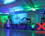 Spectacular special effect lighting in blues and greens looks great for a Under the Sea party theme, beach, Frozen, and so much more. #XplosiveEntertainment, #specialeffectlighting, #frozentheme, #undertheseatheme, #beachtheme, #elevatedenhancements.