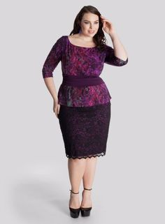Nicolette Peplum Dress in Berry Multi