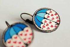 Ajart / maľované náušnice - pod dáždnikom prší láska v modrom :)