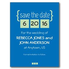 Customizable Mint Green and Glue Save the Date postcard