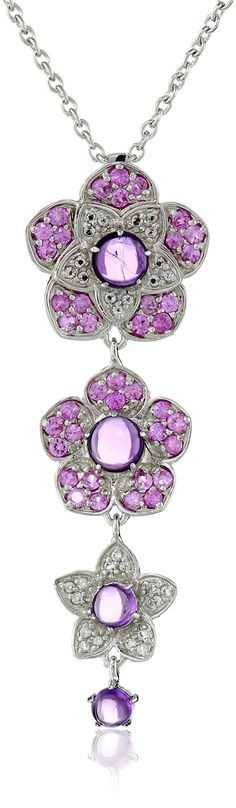 Amazon.com: Kenneth Jay Lane Fine Jewelry Sterling Silver, Amethyst, Pink Sapphire and White Topaz Flower Pendant Necklace: Clothing