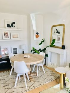This Apartment Shows How Light, Mirrors, and Neutral Colors Can Make a Small Space Feel Bigger Than It Is One Bedroom Apartment, Apartment Design, Apartment Living, Apartment Therapy, Apartment Layout, Apartment Interior, Apartment Ideas, Small Dining, Round Dining Table