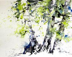 aquarell watercolor birch birken wald bäume forest trees wood