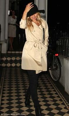 kate moss....there is nothing like a great trench coat and a fab hat!!