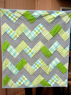 Cuddly chevron baby quilt: made with flannel and high loft badding