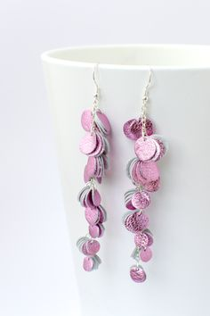 Shiny light pink Huura earrings by Oikku Jewellery Felted Jewelry, Crochet Earrings, Jewellery, Trending Outfits, Unique Jewelry, Handmade Gifts, Pink, Etsy, Vintage