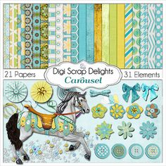 Carousel Digital Scrapbook Kit in Turquoise Gold by DigiScrapDelights