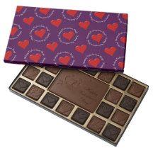 Happy Valentines Day Chocolate-Red Heart-Purple 45 Piece Assorted Chocolate Box #zazzle #valentines #chocolates #purple #red #hearts  http://www.zazzle.com/zazzleparty?rf=238170457442240176