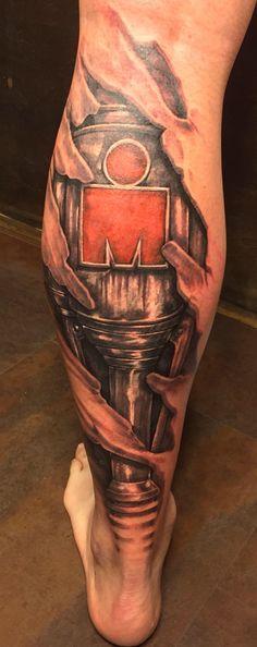 Ironman MDot 3d skin rip cyborg biomechanical tattoo